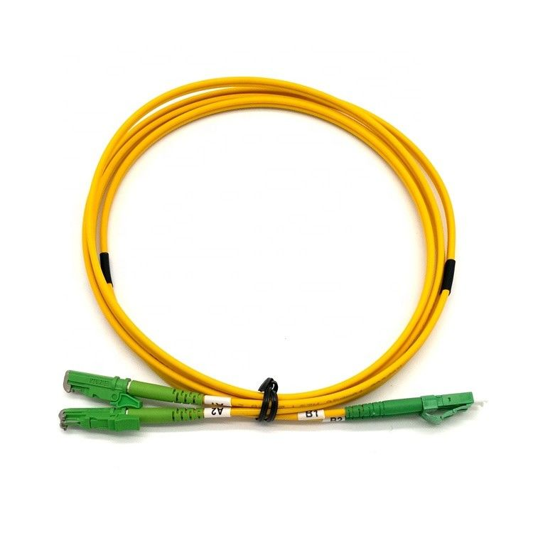 Yellow Outjacket E2000 Patch Cord Fiber Optic APC Metal Cap Connector SM DX PVC Indoor